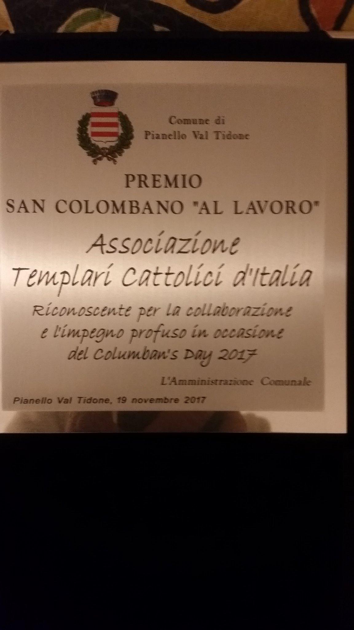 I Templari Cattolici d'Italia ricevono il premio San Columbano per l'impegno profuso durante il Columban's Day.