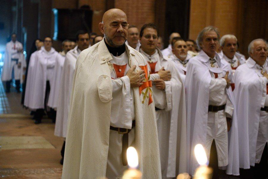 I Templari Cattolici d'Italia partecipano al ritiro spirituale presso l'Abbazia di Chiaravalle della Colomba.