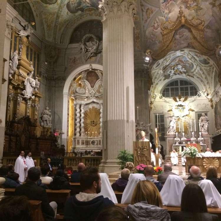 I Templari Cattolici d'Italia prestano servizio per la Santa Messa pasquale a Udine.