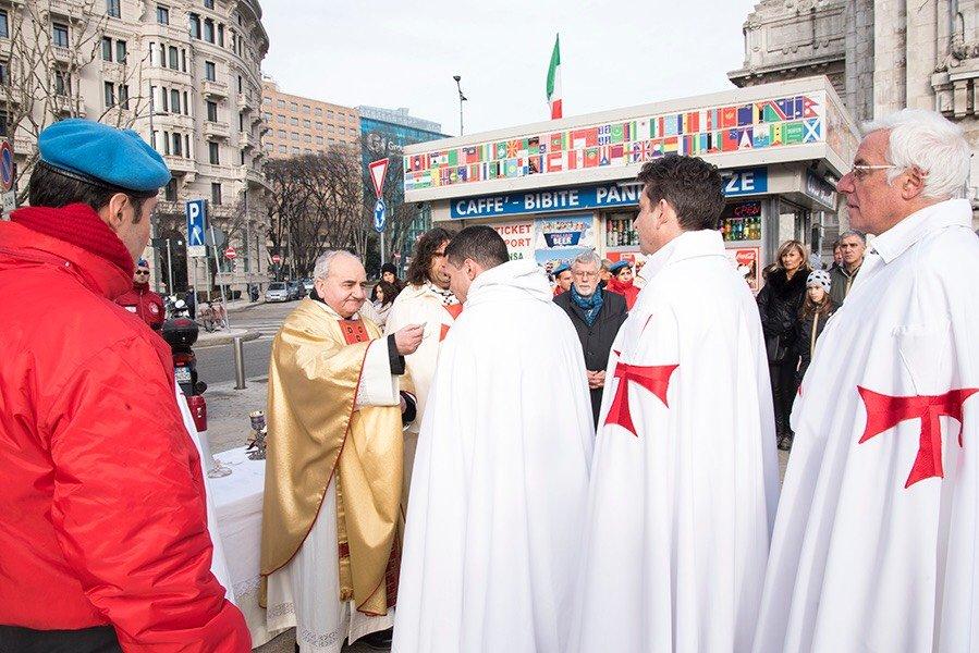 I Templari Cattolici d'Italia partecipano alla Santa Messa a favore della Solidarietà e Sicurezza a Milano.