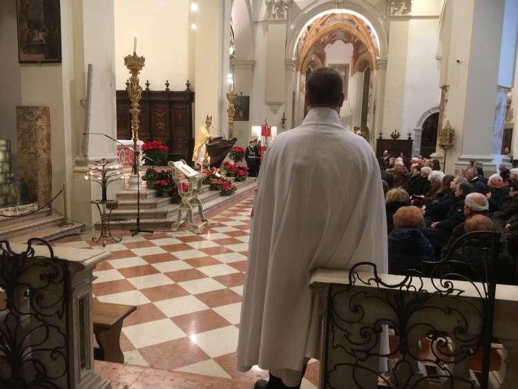 I Templari Cattolici d'Italia prestano servizio durante la Celebrazione Eucaristica di Fine anno con il Te Deum presieduto dal Vescovo Sua Eccellenza Monsignor Giuseppe Pellegrini a Pordenone, 2018.
