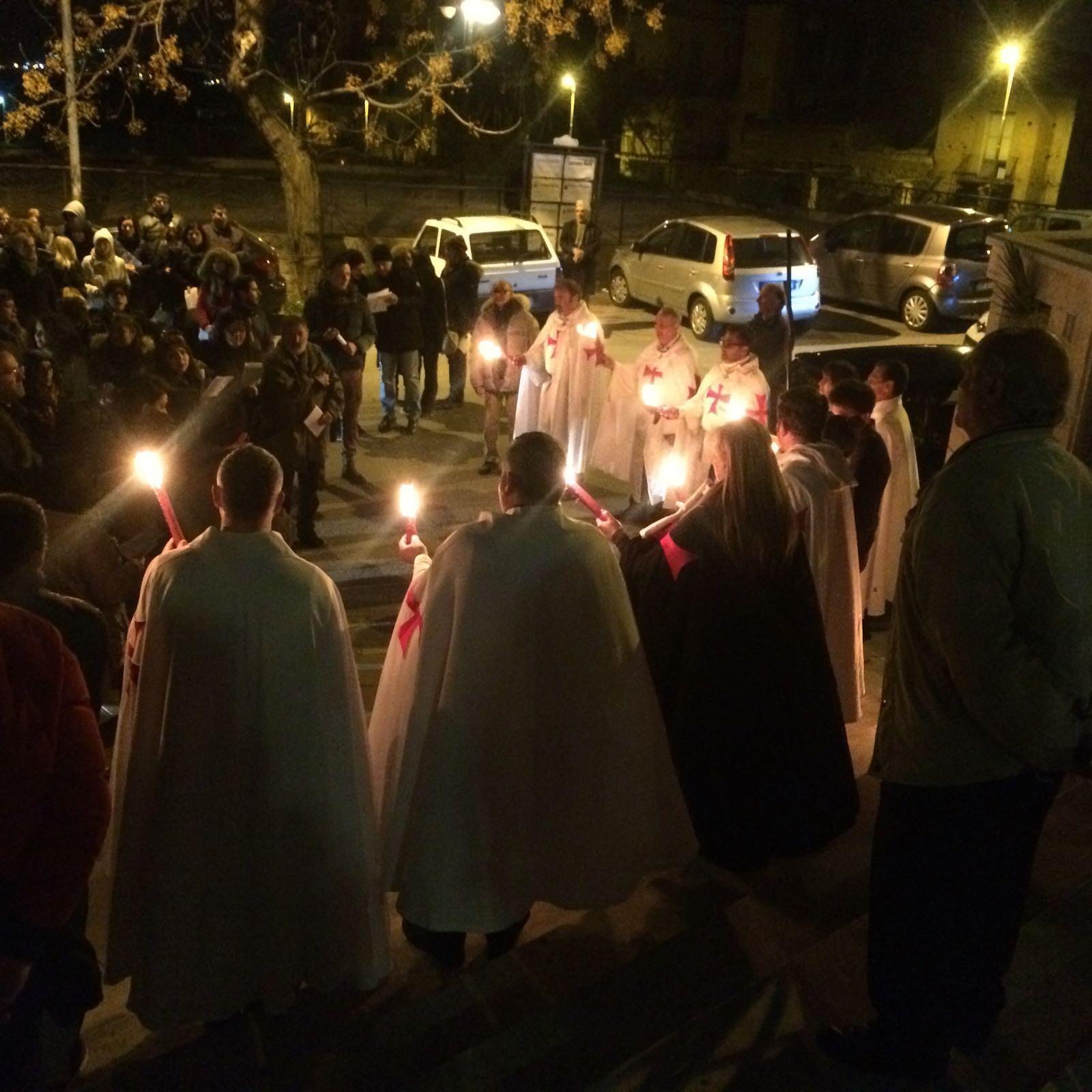 I Templari Cattolici d'Italia partecipano alla Via Crucis Interparrocchiale a Reggio Calabria.